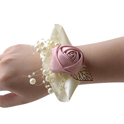 2ea54847fcd Amazon.com  MOJUN Bridal Wrist Flower Pearl Beaded Bowknot Wedding Silk  Rose Flowers for Wedding Party Prom