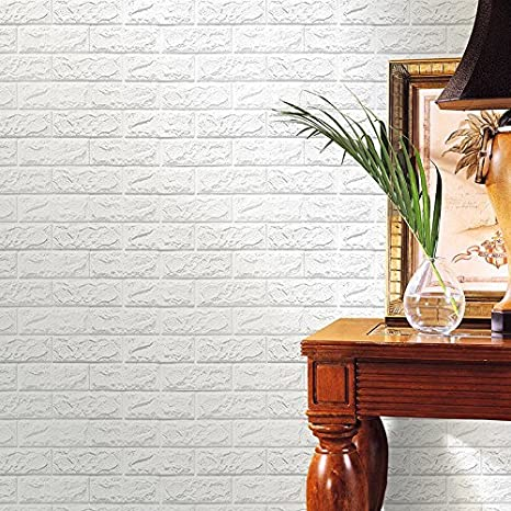 Laylala 10PCS 3D Brick Wall Stickers PE Foam Self-adhesive Wallpaper Peel and Stick 3D Art Wall Panels for Living Room Bedroom Background Wall Decoration(White) (PE, 69×77) 69×77)