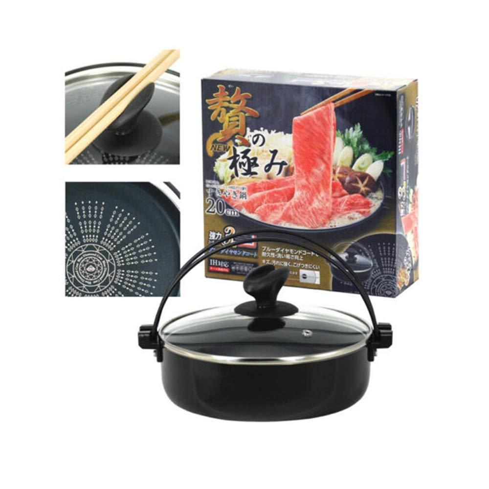 Honeybeloved SUKIYAKI Cooker NABE Grill Pan Stainless Steel Bottom Japanese 7.75'' D Aluminum Approx. 7.75'' Diameter (20cm) 1PC
