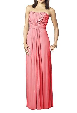 Yinhan Women\'s Floor Length Strapless Long Bridesmaid Dresses Prom ...