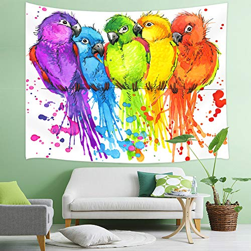 NYMB Parrots Tapestry, Colorful Watercolor Birds on Tropic Jungle Tree Branches Tapestry Wall Handing, 3D Panels Wall Tapestry for Bedroom TV Backdrop Beach Blanket Hippie 3D -