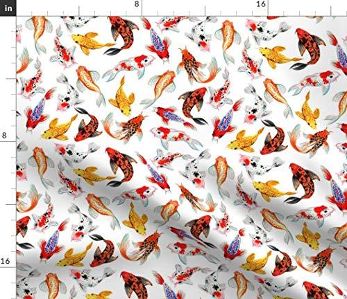 Koi Fish Fabric - Carp Goldfish Zen Garden Watercolor Fishes Pond Print on Fabric by The Yard - Sport Lycra for Swimwear Performance Leggings Apparel Fashion