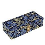 BQLZR 21x9x5.5cm Dark Blue Retro Pattern Double-deck Silks Satins Wood Oboe Reed Case for 40 Reeds Hold Protector