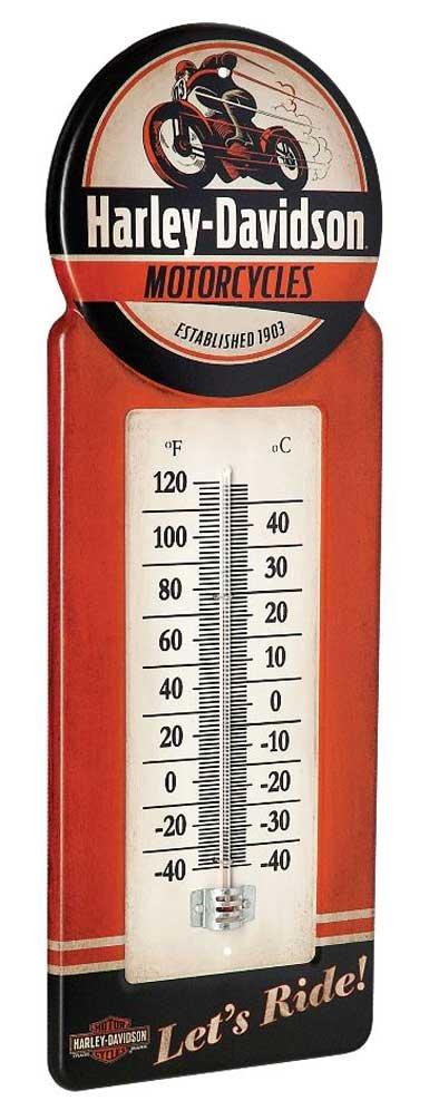 Harley-Davidson Tin Thermometer, Vintage H-D Motorcycle Metal Design HDL-10098
