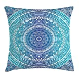 Ambesonne Mandala Throw Pillow Cushion Cover, Spiritual Ritual Symbol of Universe Cultural Center Point Balance Meditation Theme, Decorative Square Accent Pillow Case, 24 X 24 Inches, Light Blue