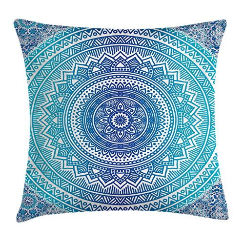Ambesonne Mandala Throw Pillow Cushion Cover, Spiritual Ritual Symbol of Universe Cultural Center Point Balance Meditation Theme, Decorative Square Accent Pillow Case, 24 X 24 inches, Light Blue by Ambesonne