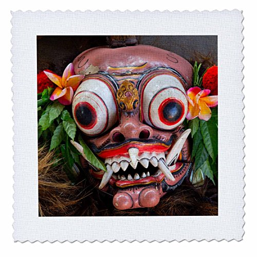 [Danita Delimont - Masks - Indonesia, Bali. Barong ceremonial performance mask decorated, - 12x12 inch quilt square] (Demonic Masks)