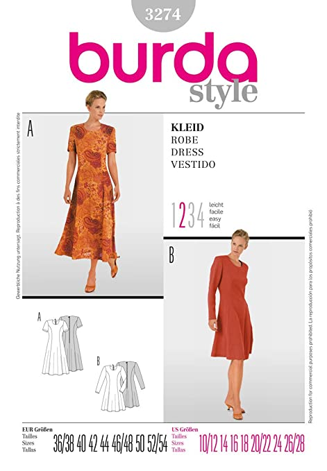 Burda Craft Sewing Pattern 3274 - Dress Sizes: One Size: Amazon.co ...