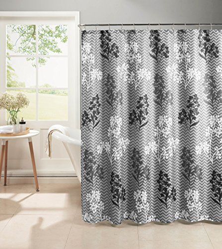 Metal Diamond Vinyl Liner - Creative Home Ideas Diamond Weave Textured 13-Piece Shower Curtain with Metal Roller Hooks, Whimsy Leaves, Grey