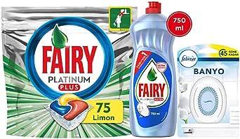 Fairy Plt Plus 75 Yıkama Bulaşık Deterjanı Kapsülü+Plt Hijyen 750ml Sıvı Bulaşık Deterjanı+Febreze 300ml Banyo Oda Kokusu Temiz Çarşaf Ferahlığı