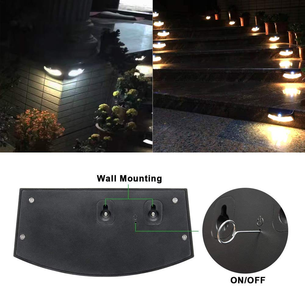 Solar Deck Lights, Outdoor Super Bright Security Light Waterproof Pathway Lamps for Yard Wall Garden Driveway (Cool White, 2 Pack)