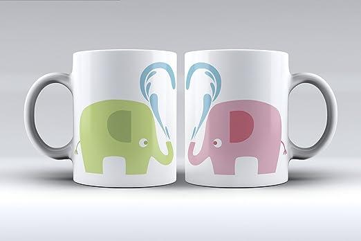 Pack 2 tazas ilustración elefantes decorada desayuno regalo ...