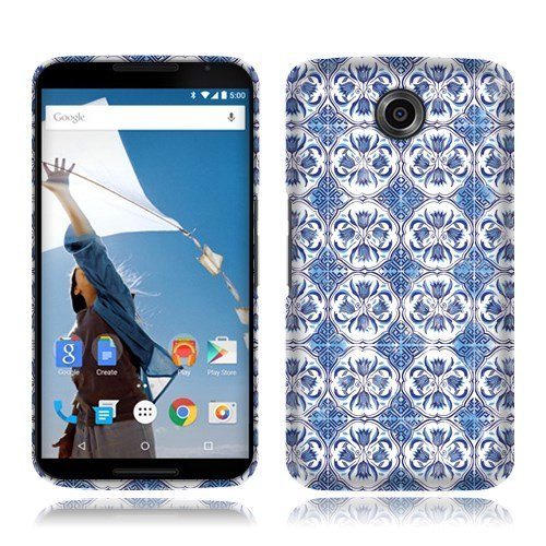 Nextkin Motorola Google Nexus 6 Flexible Slim Silicone TPU Skin Gel Soft Protector Cover Case - Blue Porcelain Pattern (Nexus 6 Case Pattern)