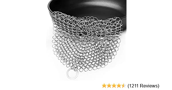 """LauKingdom Cast Iron Cleaner, 7""""x7"""" Stainless Steel Cast Iron Cleaner 316L Chainmail Scrubber for Cast Iron Pan, Round"""