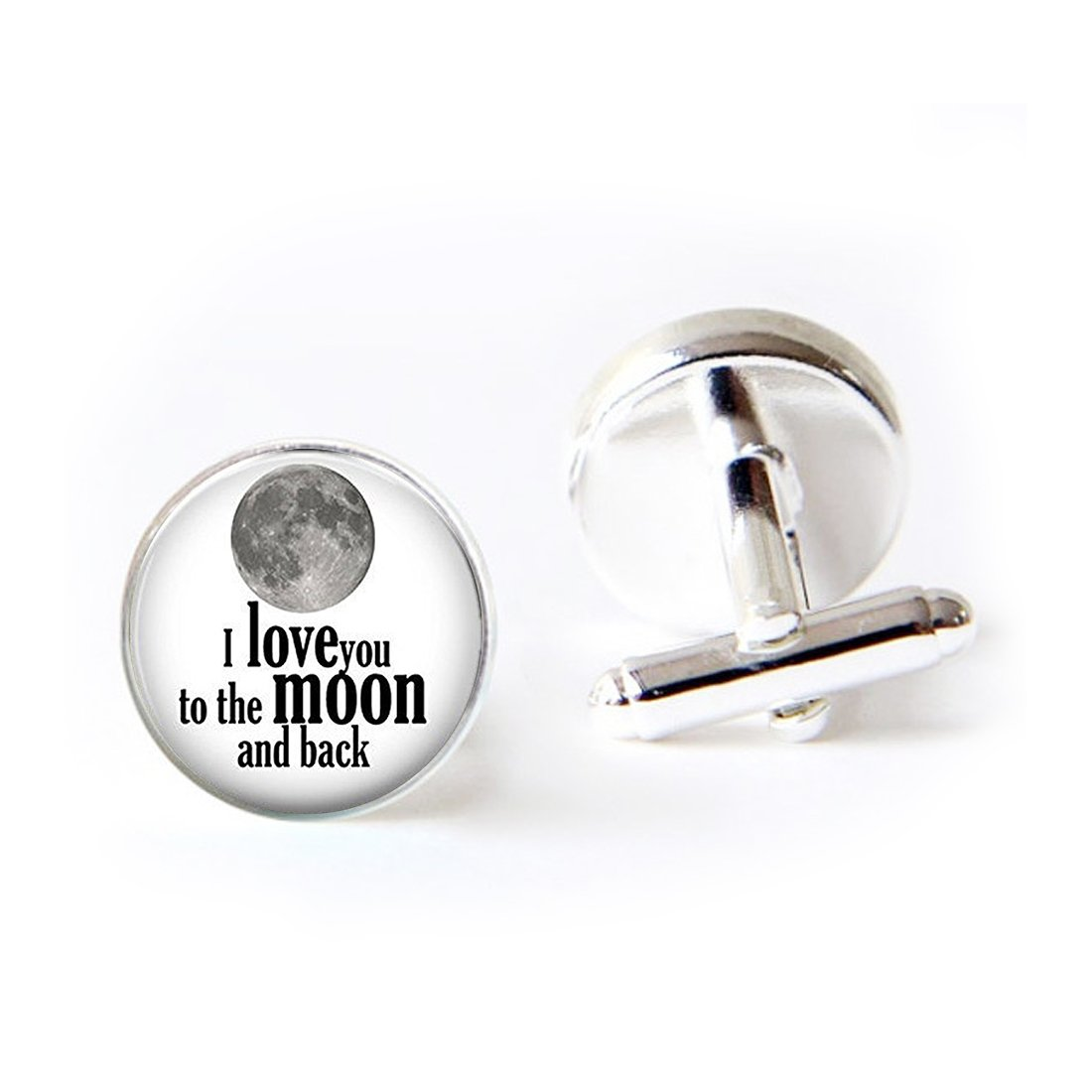 Unique Round Cufflinks Set I Love You to the Moon and Back Glass Cuff Dress Shirt Links Wedding Business Anniversary Gift for Him