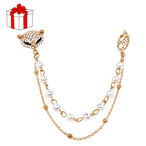 f594e44b1 EVERCHARM Brooch Pin Fox Collar Pins Shirt Handmade Scarf Collar Clips  Cardigan Christmas Jewelry Gift for