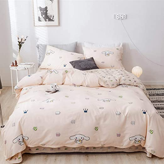 Cute Cinnamoroll Printed Bedding Duvet Cover Set Queen Soft Cotton Animal Dogs Duvet Cover With 2 Pillow Shams Pink Reversible Bedding Sets Full Queen Size Kitchen Dining