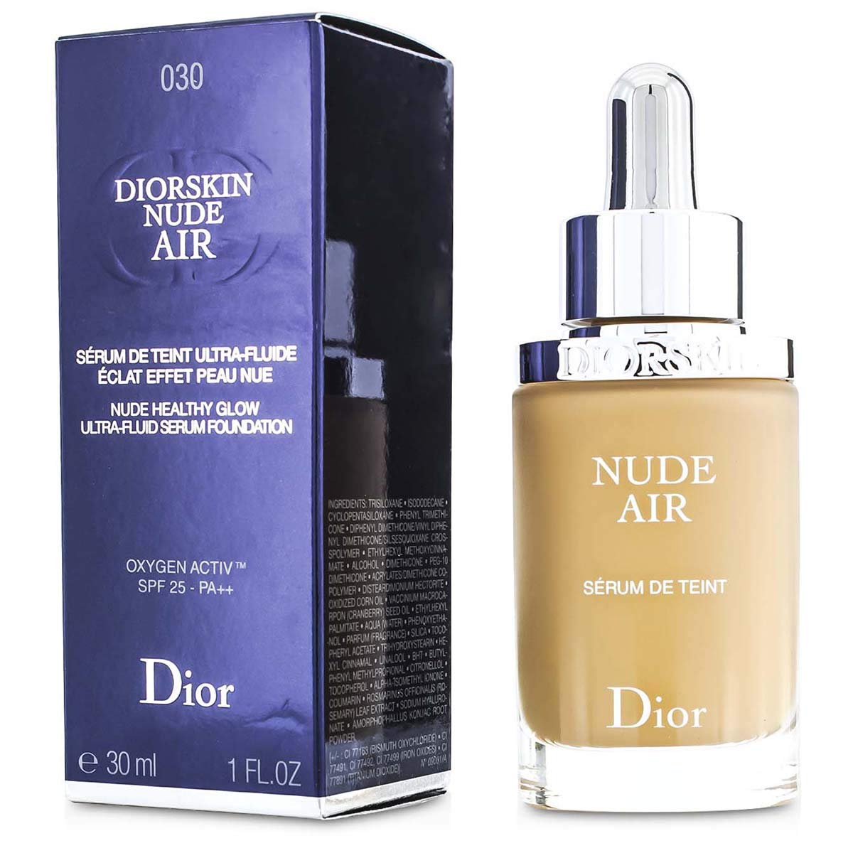 Diorskin Nude Air Healthy Glow Ultra-fluid Serum Foundation SPF 25 Medium Beige 030