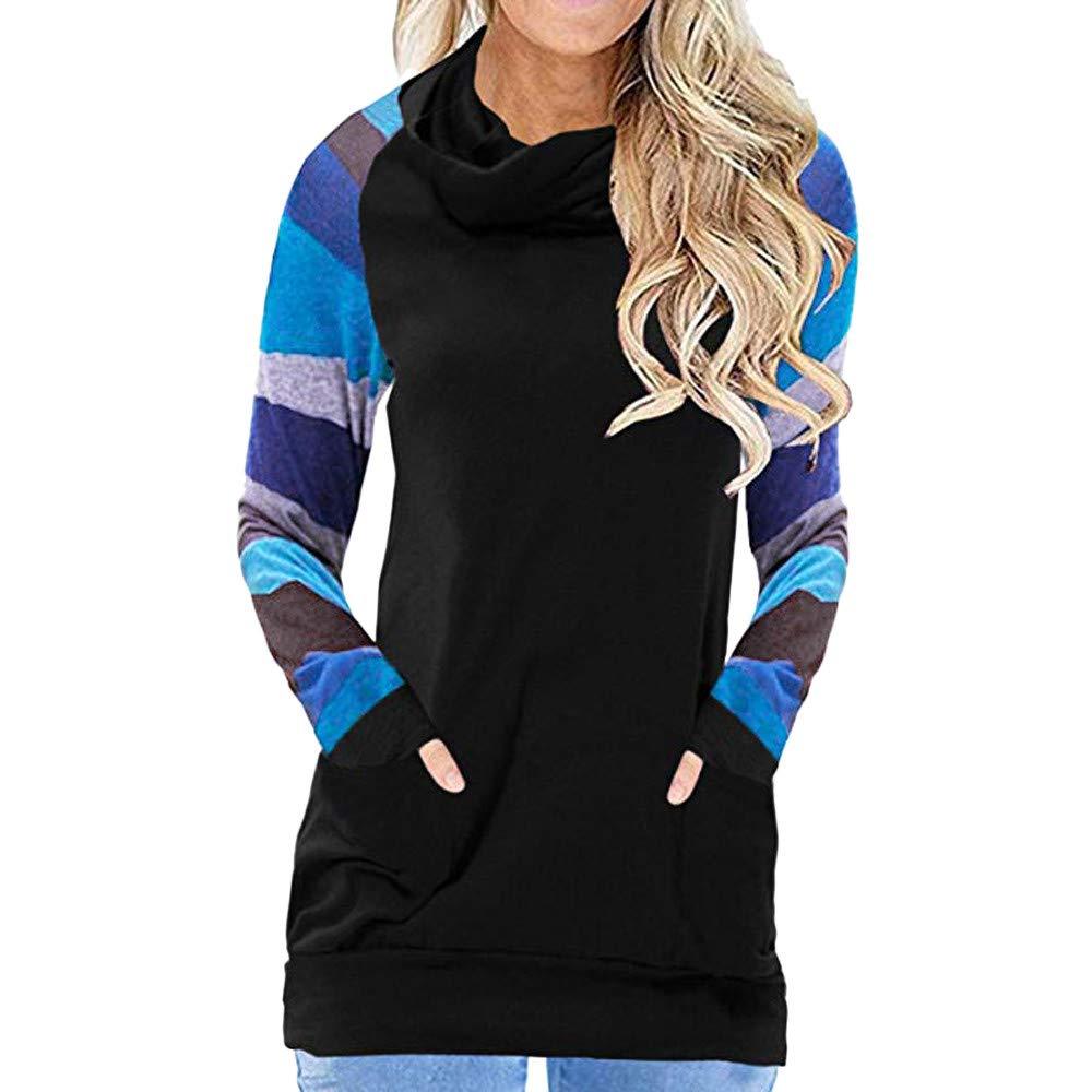 DIKEWANG Women's Casual Cowl Neck Printed Striped Knitted Long Sleeve Lightweight Tunic Pockets Sweatshirt Top