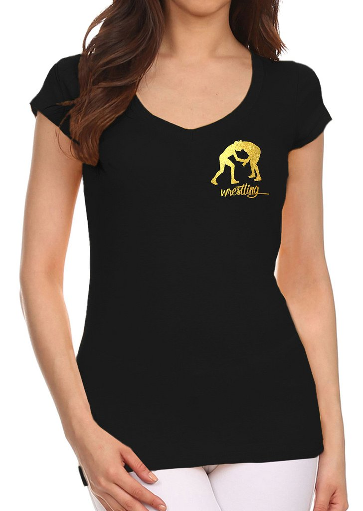 Junior's Gold Foil Wrestling Emblem Black V-Neck T-Shirt Large Black by Interstate Apparel Inc
