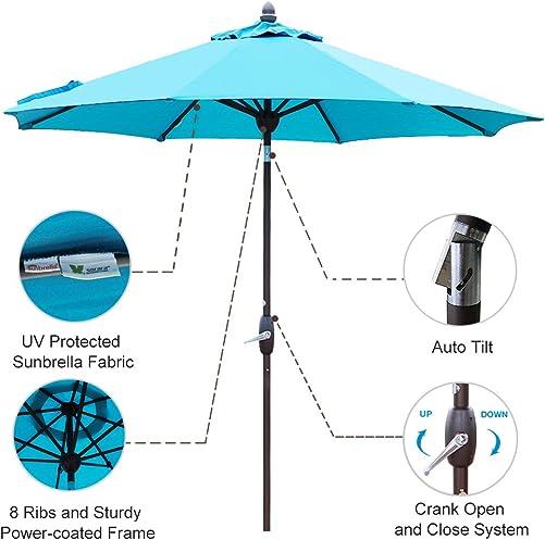SORARA Sunbrella Patio Umbrella 9-Feet Outdoor Market Table Umbrella with Auto Tilt Crank Umbrella Cover, 8 Ribs, Canvas Aruba