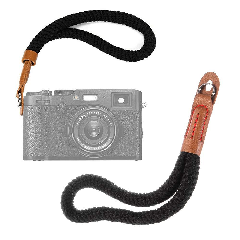 2pcs 9inch leather Cotton Light Handmade Camera Hand Wrist Strap String Grip Belt With O-ring hole for Canon Nikon Sony Fujifilm Leica Panasonic Olympus DSLR Black