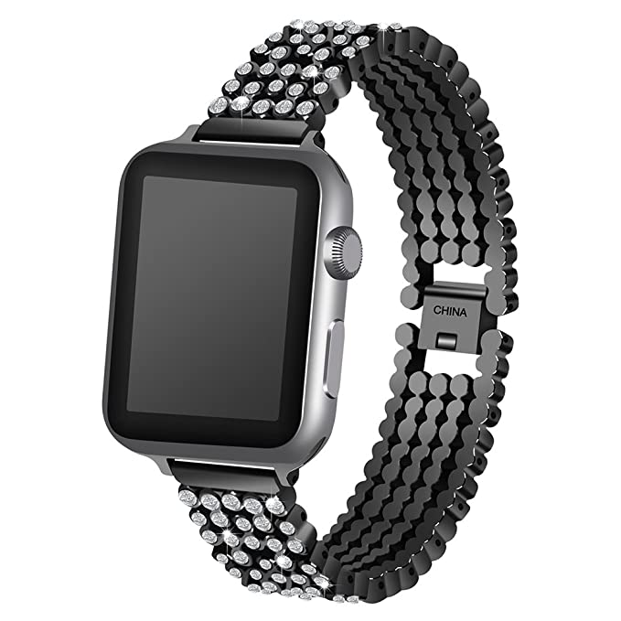 For Apple iwatch Series 1/2/3 Smart Watch Round Diamond Zinc Alloy Chain Strap