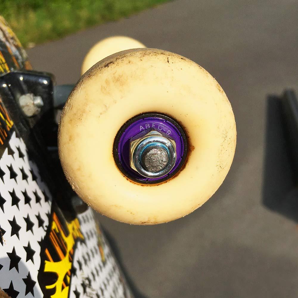 Lot de 8/roulements /à billes Wetkoala ABEC/9/608/ZZ longboards rollers waveboards Pour skateboard - Taille unique etc Avec cache m/étallique pour une plus longue dur/ée de vie