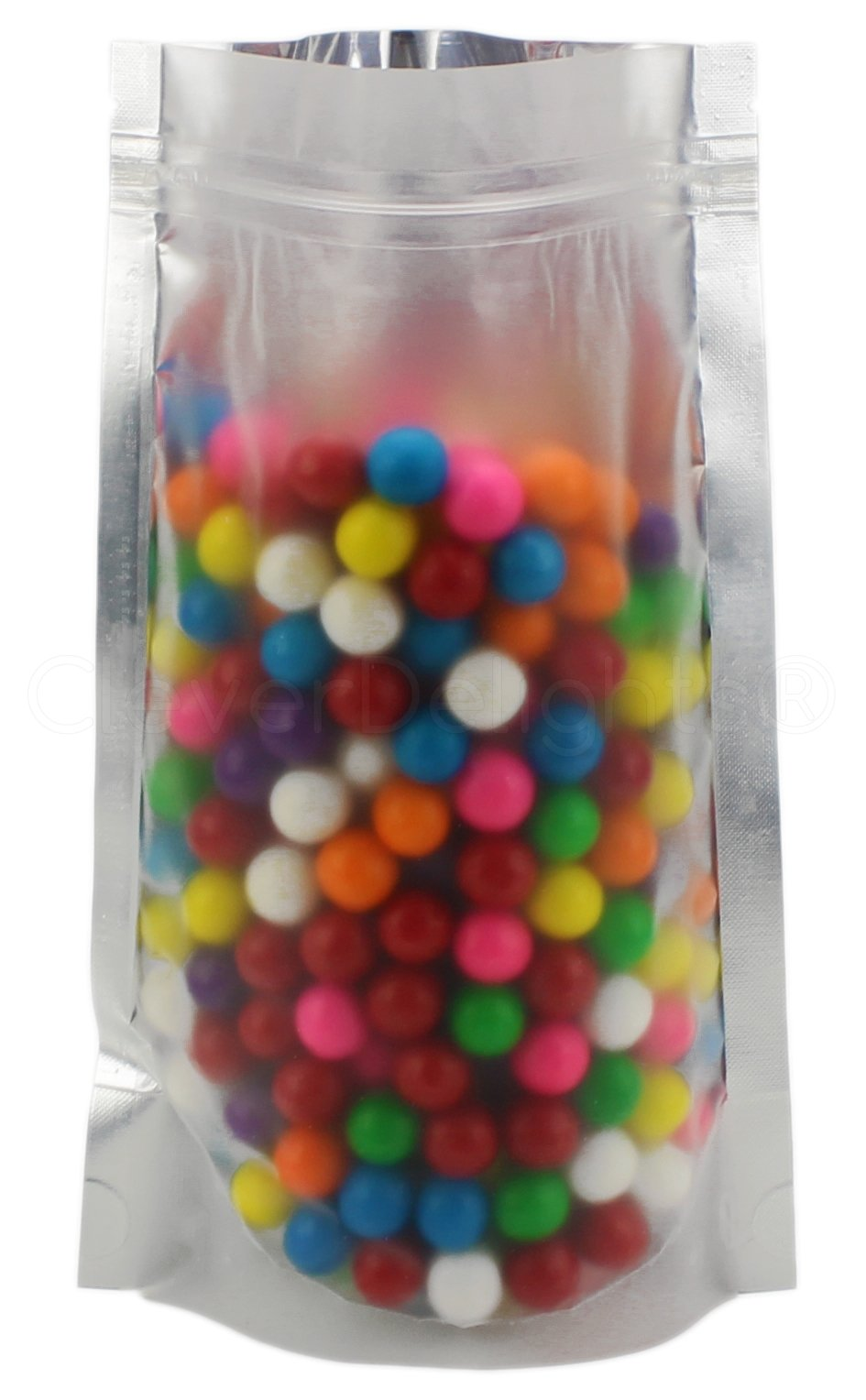 100 Pack - CleverDelights Silver/Clear Stand-Up Pouches - 6'' x 9'' x 3'' - 8oz - Resealable Ziplock Bag