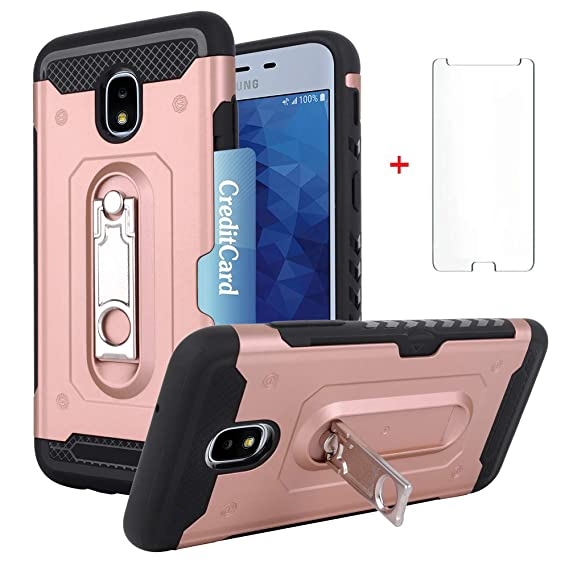 Samsung Galaxy J7 Star J7 Refine J7 2018 J7V J7 V 2nd Gen J737V Wallet  Phone Case Women Protective Cover with Tempered Glass Screen Protector Card