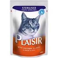 PLAISIR sterilized cats chunks in jelly with chicken pouch 100g, Red