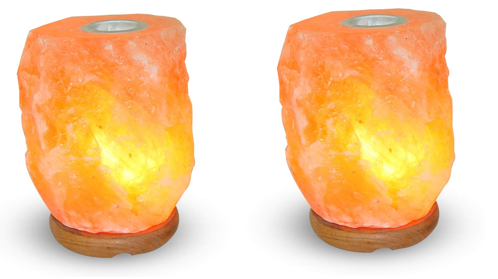 2 Pack - Salt GEMS Salt Lamp Aromatherapy Natural Himalayan Rock Salt with Small Plate to Diffuse Essential Oils, Size 4~6 lbs, 8~9 inch