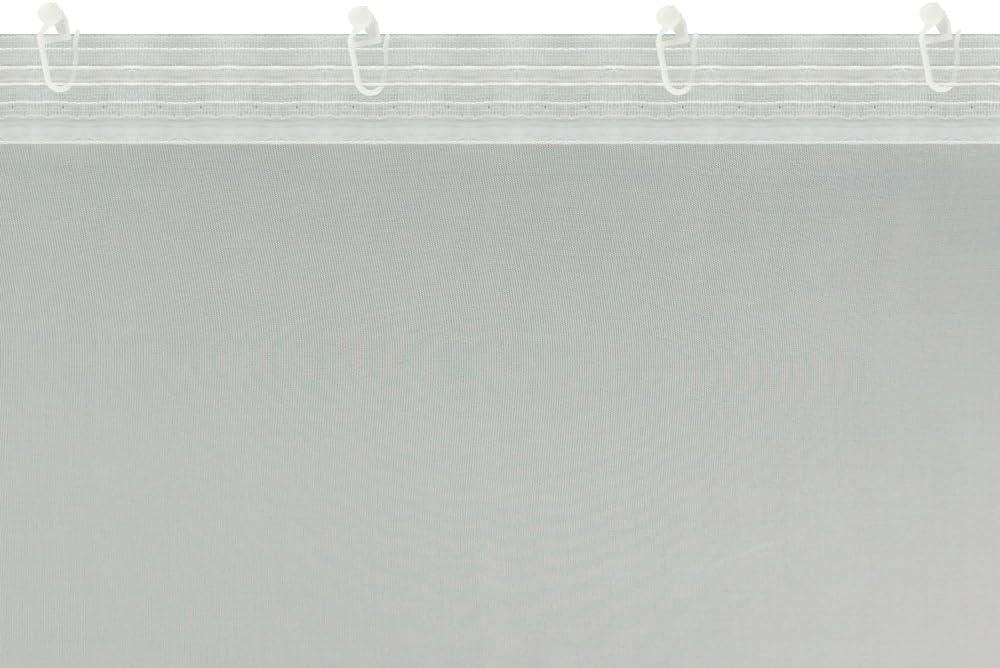 """12 Meter Gardinen nach Mass H/öhe 90 inklusive Kr/äuselband Breite 1 295 cm A-TEXTILE-24 Ma/ßgeschneiderte wei/ße Scherli Voile Store Gardine /""""Wave/"""" Universalband Gold, 90 x 150 cm//HxB"""