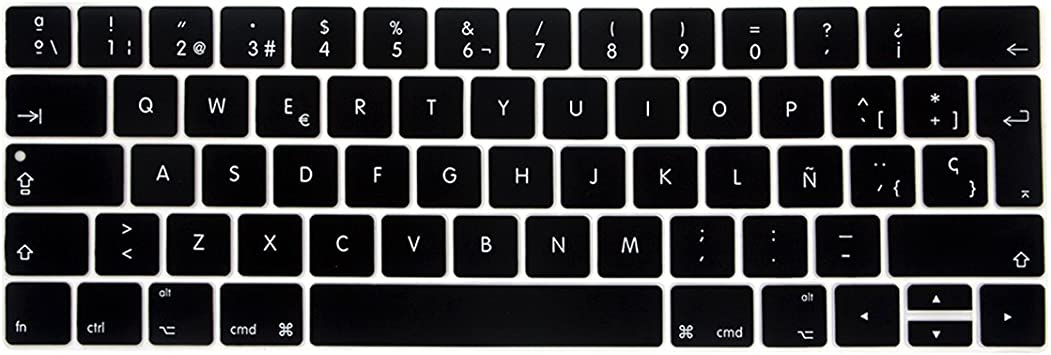 Colorful Keyboard Film for Mac Book pro 13 Not Touch bar 12 Spanish EU Silicone Keyboard Protector Cover Skin Protective Film,E