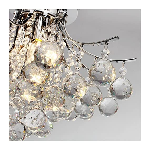 Saint Mossi Chandelier Modern K9 Crystal Raindrop Chandelier Lighting Flush Mount LED Ceiling Light Fixture for Dining… - Bulb Specification: 3 x E12 x Max 40W, Bulb Not Included. Full Assembly Required with time and effort. Product Dimensions: 16 x 16 x 11 inches -- Canopy Diameter: 6 in The Amazing flush mount K9 Crystal modern Rain Drop Chandelier Lighting is a gorgeous ceiling light fixture which is far more stunning than the picture. Solidly built with superior quality materials -- first-class crystal class raindrop & brightly stainless steel, the modern contemporary chandelier pendant lamp quality is guaranteed. - kitchen-dining-room-decor, kitchen-dining-room, chandeliers-lighting - 61%2BEqOA1BXL. SS570  -
