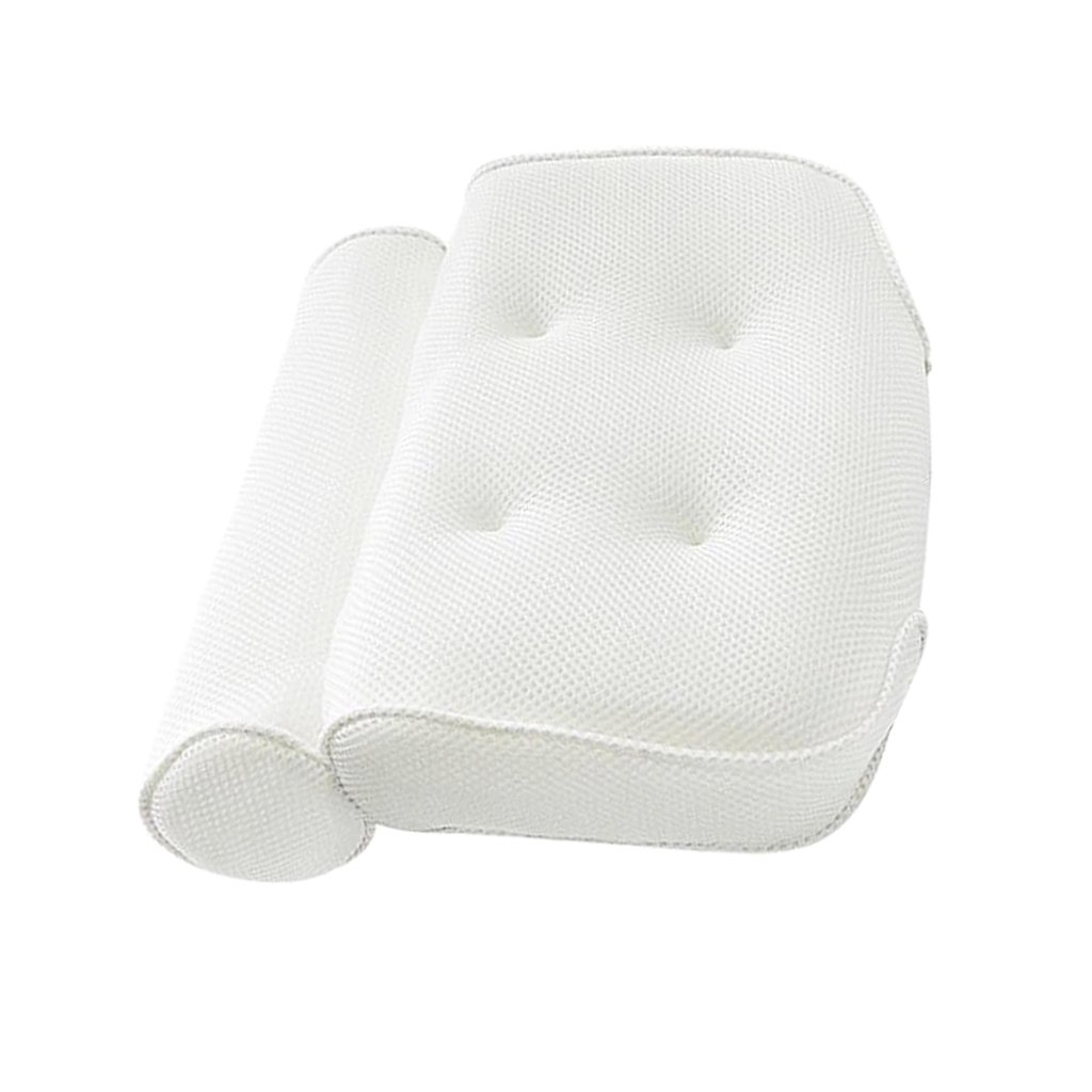 Fityle Non-Slip White Cushioned Bath Pillow Slip-resistant with 4 Suction Cups