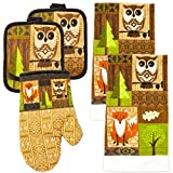 MJM Innovations Kitchen Towel Linen Set of 5 Pieces | 2 Kitchen Towels 2 Potholders & 1 Oven Mitten | Featuring Brown Owls, Fox, Pine Leaves, Mosaic Design Patterns Decor (Brown Owls).