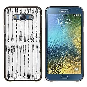 KLONGSHOP // Cubierta de piel con cierre a presión Shell trasero duro de goma Protección Caso - Negro Dibujo Indio Blanco - Samsung Galaxy E7 E700 //