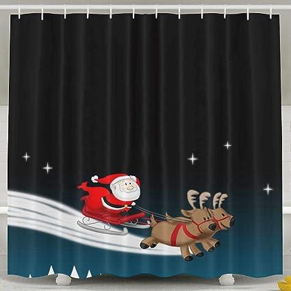 Amazon Waterproof Shower Curtain Stars Santa Claus Reindeer