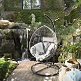 Cheap Leasa Outdoor Black Wicker Hanging Basket Chair with Grey Water Resistant Cushions and Black Iron Base