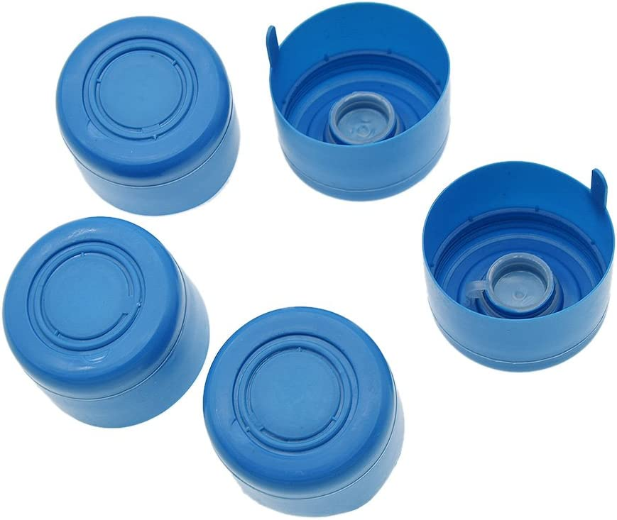 BetterUS 5Pcs Gallon Replacement Water Bottle Snap On Cap Anti Splash Peel Off Tops 55mm