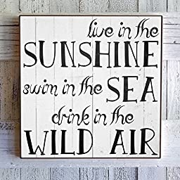 Inspirational Wall Art Live In The Sunshine, Swim In The Sea, Drink In The Wild Air. by My Vintage Farmhouse