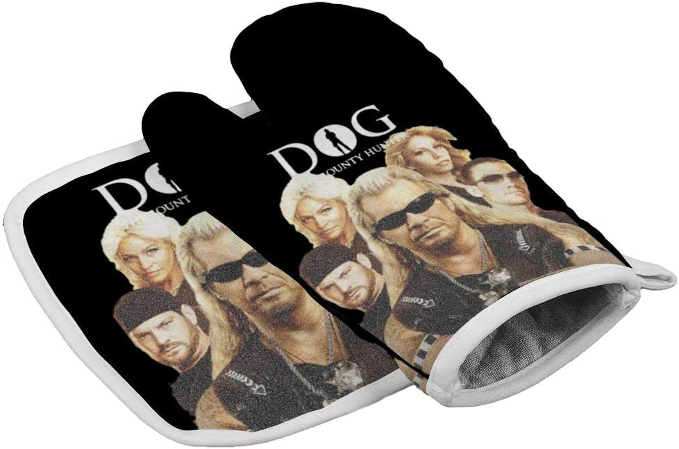Tukiv Dog The Bounty Hunter Oven Mitts and Pot Holders Sets Heat Resistant Kitchen Gloves Non Slip Hot Pads
