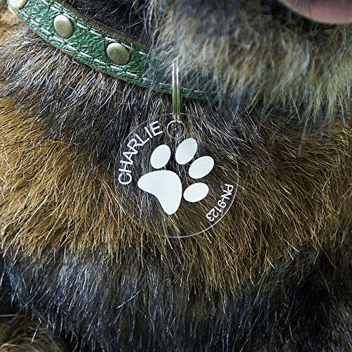 Individuell gravierte Acrylglas Hundemarken, Anhänger, Namensschilder, in verschiedenen Formen zur Auswahl, Form:Rund