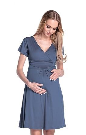 2626b89e25c Happy Mama Damen Viskosejersey Umstandskleid Schwangerschafts Kleid Kurzarm  108p (Blau Grau