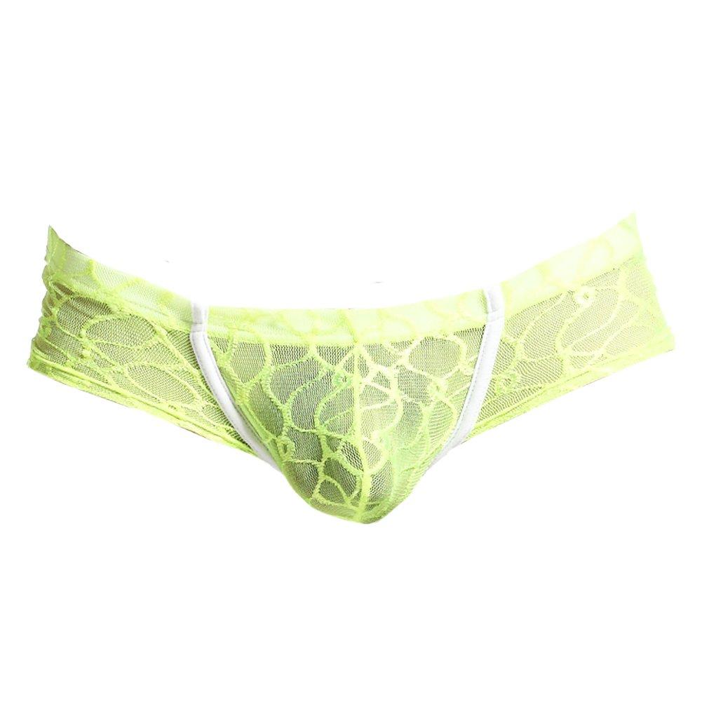 K-Men Men Plus Size Yellow Briefs Soft Bulge Bikini Thong Sexy Lace Underwear XL