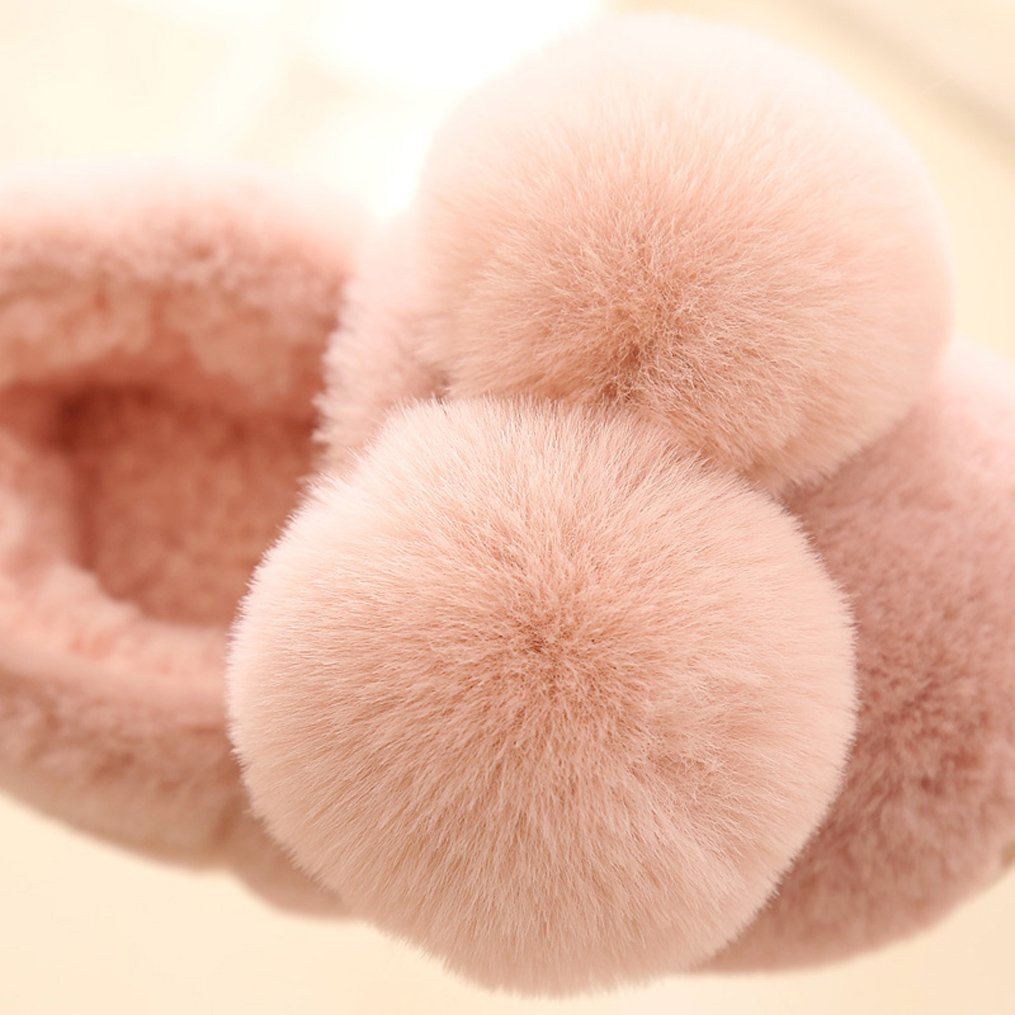 Cwait Pompoms Fleece Fluffy Slippers Kids Cute Slippers Toddler Little Kid