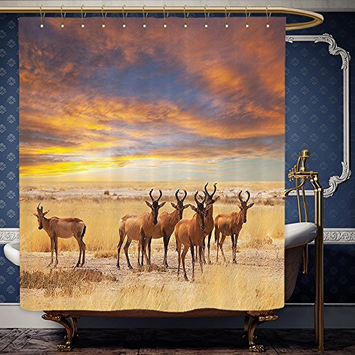 Wanranhome Custom-made shower curtain Safari Decor Antelope Crowd on Grassland at Sunset Tropic Exotic Savannahs African Animals Photo Golden Red Brown For Bathroom Decoration 72 x 92 - Map Galleria Sunset At