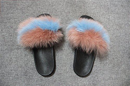 Fur Open Sandals Women blue Fox Strap Real Slippers Pink Slides On Slip Single Sole Toe qmfur Black 7BYIqWq