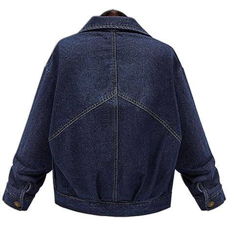 ❤ Chaqueta de Jean para Mujer, Moda Mujer Tallas Grandes Manga Larga Tops Denim Outcoat Pockets Jean Outwear Absolute: Amazon.es: Ropa y accesorios